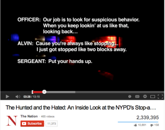 "Snapshot from Youtube, ""The Hunted and the Hated: An Inside Look at the NYPD's Stop-and-Frisk Policy"""